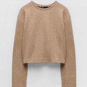 Zara Cropped Sweater Camel XL NWT